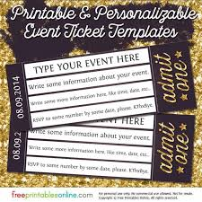 Free Concert Ticket Template Adorable Admit One Gold Event Ticket Template Free Printables Online DIY