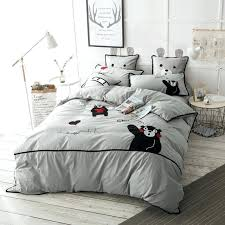 cut cartoon print and applique embroidered bedding set queen king size 100 cotton grey pink blue