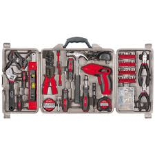 161 piece household tool kit with 4 8 volt driver