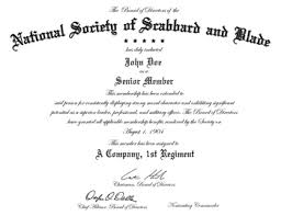 The National Society Of Scabbard Blade Certificate Frame