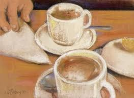 hot chocolate painting. Contemporary Painting 2 China Cups Coffee Espresso Hot Chocolate Pastel Painting By Johanna Bohoy Throughout Hot Chocolate Painting