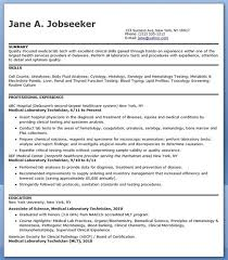 54 Awesome Med Tech Resume Sample – Template Free