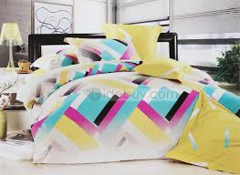 turquoise and yellow bedding. Modren Turquoise Attractive Turquoise Yellow Purple Geometric Figure 4 Piece Bedding Sets In And L