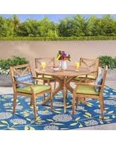 yellow patio furniture. Llano Outdoor 5 Piece Acacia Wood Dining Set By Christopher Knight Home (teak + Blue Yellow Patio Furniture