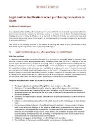 legal and tax implications when purchasing real estate in spain engl  page 1 of 10 legal and tax implications when purchasing real estate in spain de micco