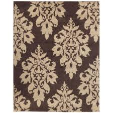 mainstream damask area rug home decorators collection meadow dark brown 4 ft x 6