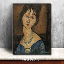 impression people blue eyes women necklace portrait canvas printings oil painting printed on canvas wall art decoration picture in painting calligraphy