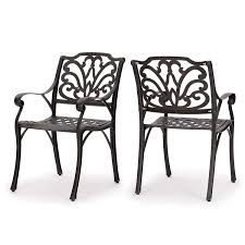 Amazon com gdf studio calandra cast aluminum outdoor dining chairs set of 2 perfect for patio in bronze garden outdoor