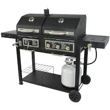 backyard grill dual gas charcoal grill burner bbq outdoor propane cooking new
