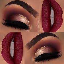 red and gold makeup look