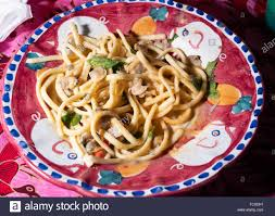 Scialatielli pasta with seafood mix on ...