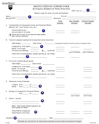 Expences Forms Moving Expenses Support Form Exhibit