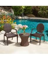 adriana pe wicker 3 peice outdoor set by christopher knight home adriana pe wicker outdoor chat set of 3 brown patio furniture iron