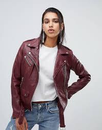 billede af goosecraft leather biker jacket in plum purple