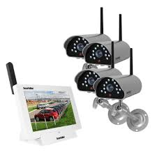 securityman isecurity 4 channel 480tvl digital wireless indoor outdoor 4 s system kit with remote viewing digilcdndvr4 the home depot