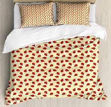 ladybug duvet cover set king size childish graphic ladybugs pattern on a background with swirls decorative 3 piece bedding set with 2 pillow shams pale