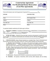 Cost Plus Agreement Sample 9 Construction Agreement Templates Free