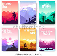 sport rest day vector brochure cards set tourism on nature template of flyear magazines