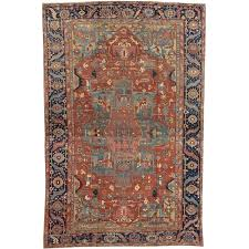 antique carpet handmade wool oriental rug rust navy light blue rugs for id f