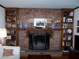 image of brick fireplace mantel shelf