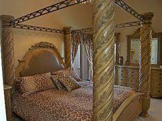 South Shore bedroom furniture set in glazed bisque finish