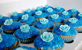 Blue Rose Glitter And Blue Butterfly Wedding Cupcakes