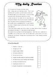 Daily Routine Chart For 9 Year Old Daily Routine Esl Worksheet By Claudiaabreu