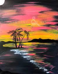 painting vino palm tree beach