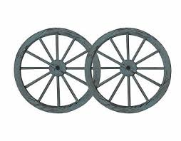 30 in steel rimmed wooden wagon wheels decorative wall decor set of two