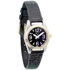 low vision watch womens w black face leather band