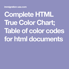 Complete Html True Color Chart Table Of Color Codes For