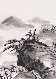 lin lis chinese art original aceo chinese sumi e painting landscape art