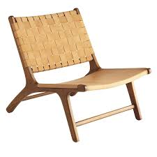 wood and leather chair. Wisteria Woven Leather Lounge Chair Wood And