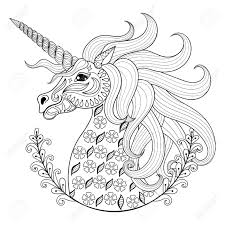 Hand Drawing Unicorn For Adult Anti Stress Coloring Pages Artistic