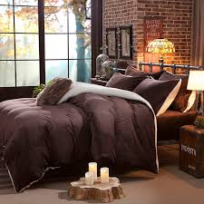 warm winter bedclothes brown coffee thick fleece queen king size bedding sets bed sheet set duvet cover pillowcases cotton duvet covers king king duvet