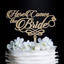Here Comes The Bride Bronze Acrylic Cake Topper Looking For On