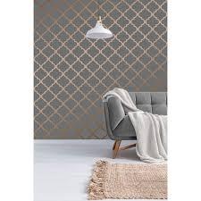 morocco trellis wallpaper grey copper