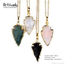 whole new arrival raw crystal arrowhead necklace rough colorful quartz pendant boho silver color arrow head necklace gift best friend necklaces rose