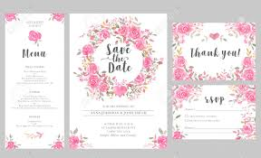 Save The Date Cards Template Set Of Wedding Invitation Card Templates With Watercolor Rose