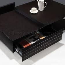 black finish modern wood coffee table w drawers options