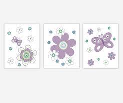 baby girl nursery wall art purple lavender teal aqua flowers erflies canvas prints baby nursery decor
