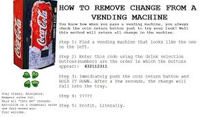 Master Code For Vending Machines Magnificent Coke Machine Hack