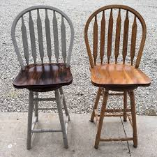 Light Oak Kitchen Chairs Plain Light Oak Bar Stools Transformed I Used Spray Paint Pebble