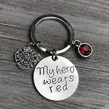 infinity collection firefighter keychain my hero wears red jewelry gift for firefighter wife friend