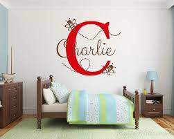 ble bee with customized name monogram wall decal for nursery
