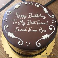 Write Name On Best Chocolate Birthday Cake For Friend Happy
