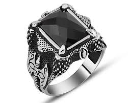 Silver Stone Ring Designs Axe Design Zircon Stone 925 Sterling Silver Ring