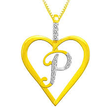 Alphabet P Diamond Pendant In Sterling Silver By Sparkles