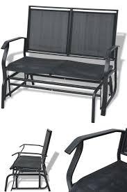 metal garden swing bench black modern outdoor 2 seater chair patio lounger seat