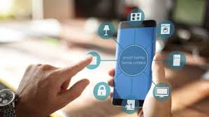 Smart Home Device - House automation home Control concept on a smartphone  with smarthome app -